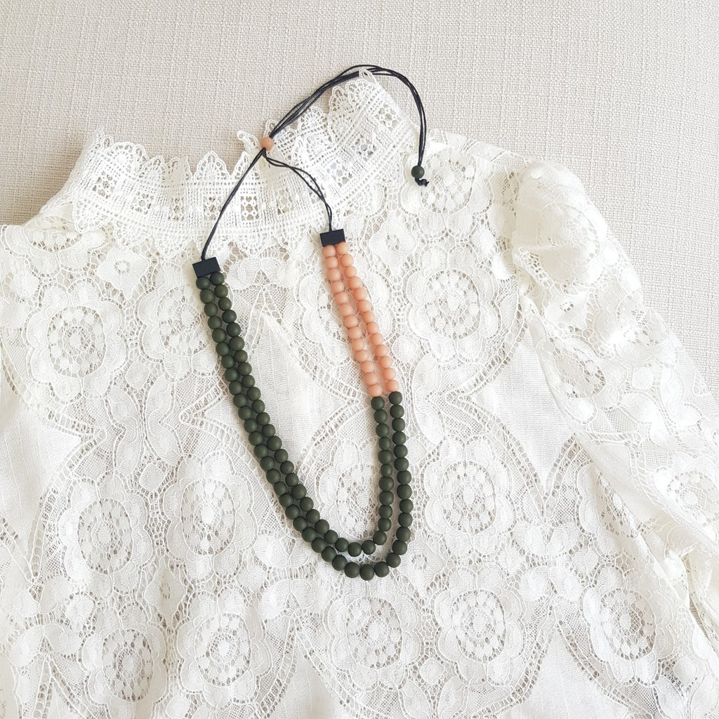 Cellio Pink Army Green Necklace