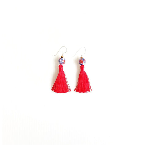 Lin Red Tassel Earrings