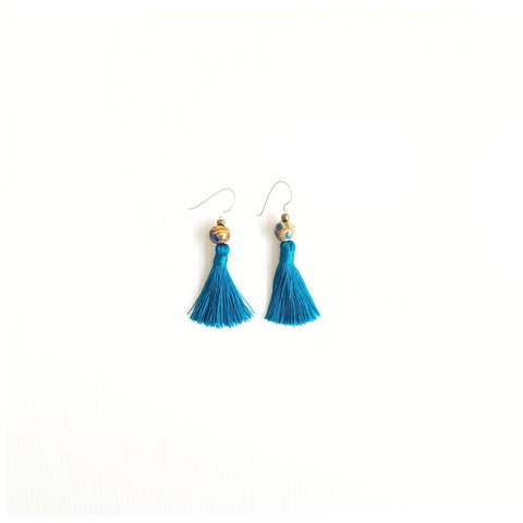 Lin Blue Tassel Earrings
