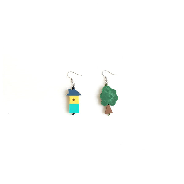 Tree House Blue Earrings