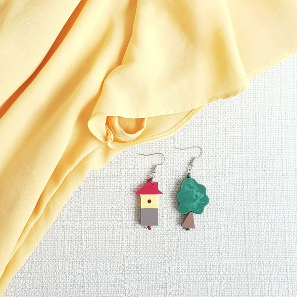 Tree House Red Earrings