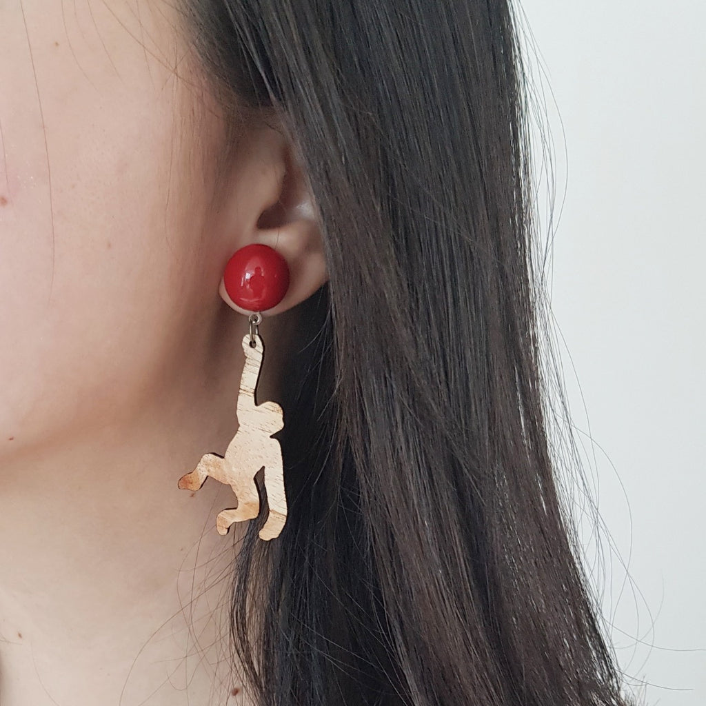 Monkey Red Earrings