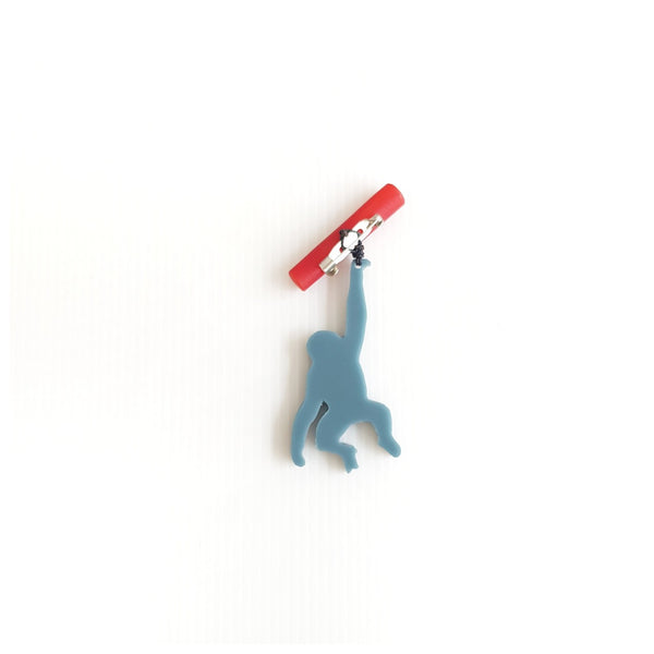 Monkey Steel Blue Brooch