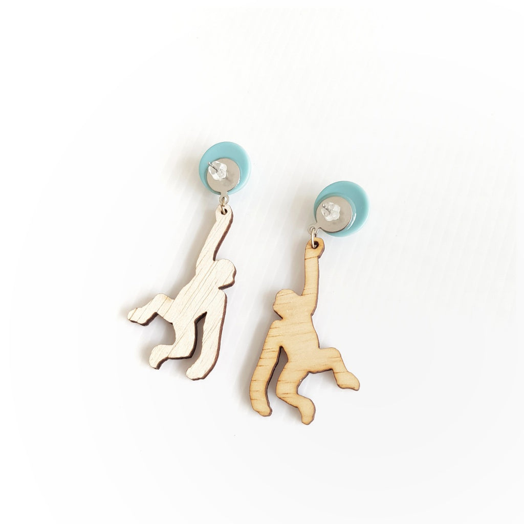 Monkey Light Blue Earrings