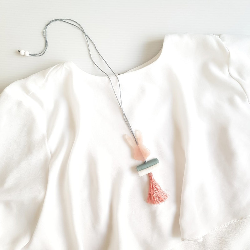 Rabbit Pink Tassel Necklace