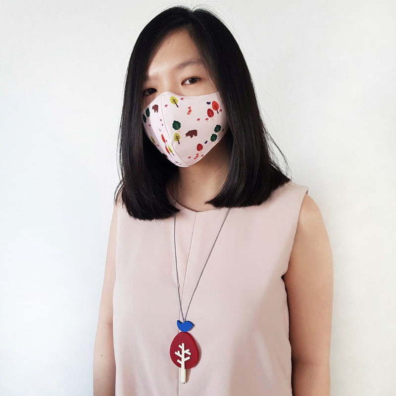 Woodland Mask Bundle - Birch Tree Red Necklace