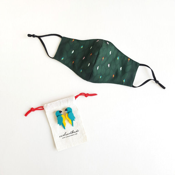 Bird Green Mask - Macaw Turquoise Earrings