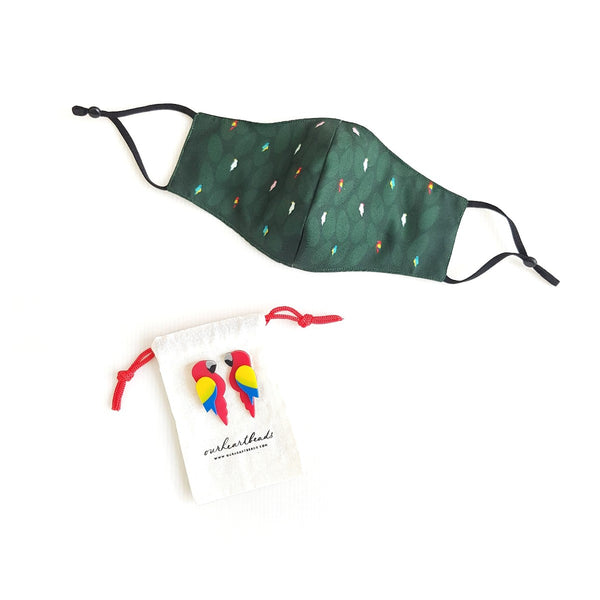 Bird Green Mask - Macaw Scarlet Earrings