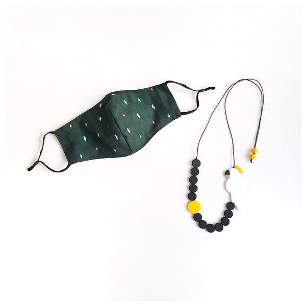 Bird Green Mask - Cockatoo White Round Bead Necklace