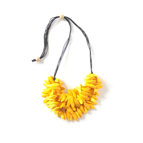 Liza Yellow Wood Necklace