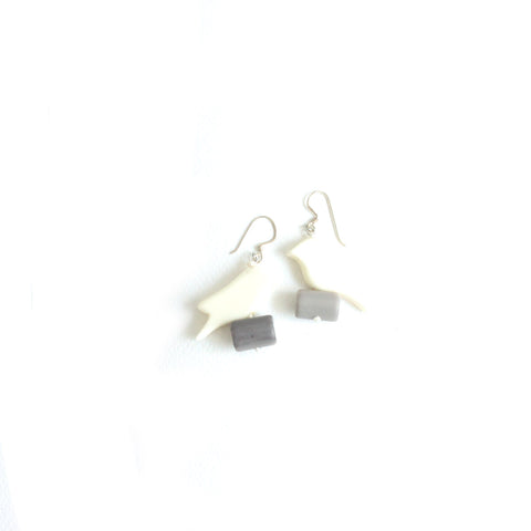 Parrot White Earrings