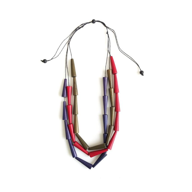 Pippa Red Blue Brown Necklace