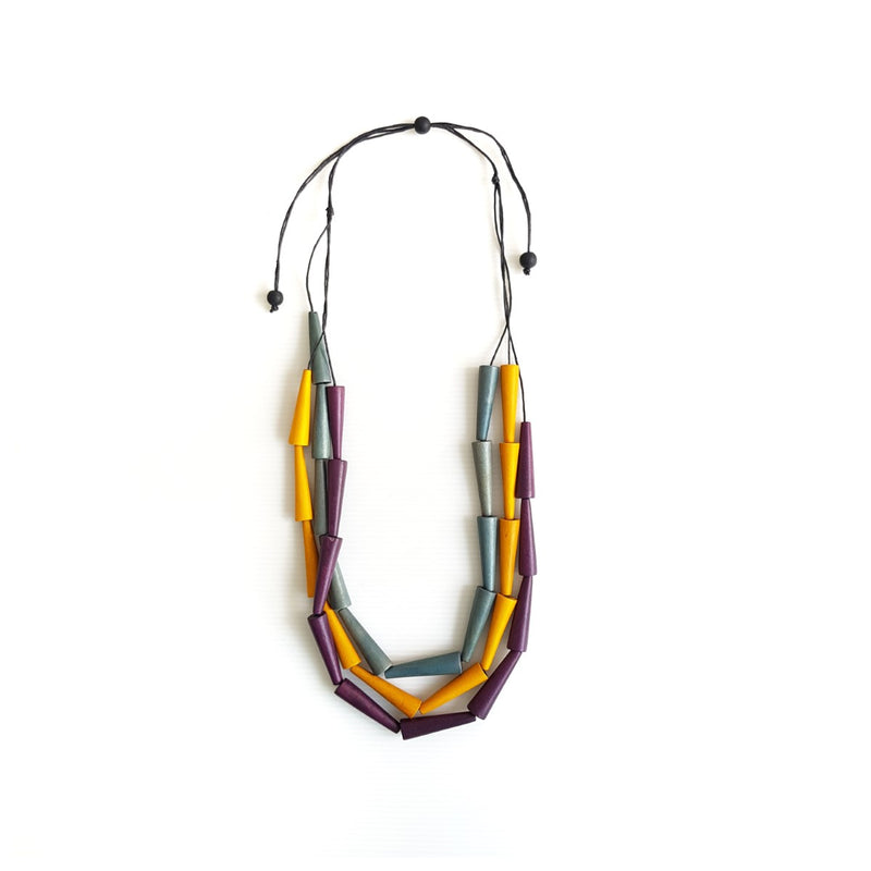 Pippa Yellow Grey Purple Necklace