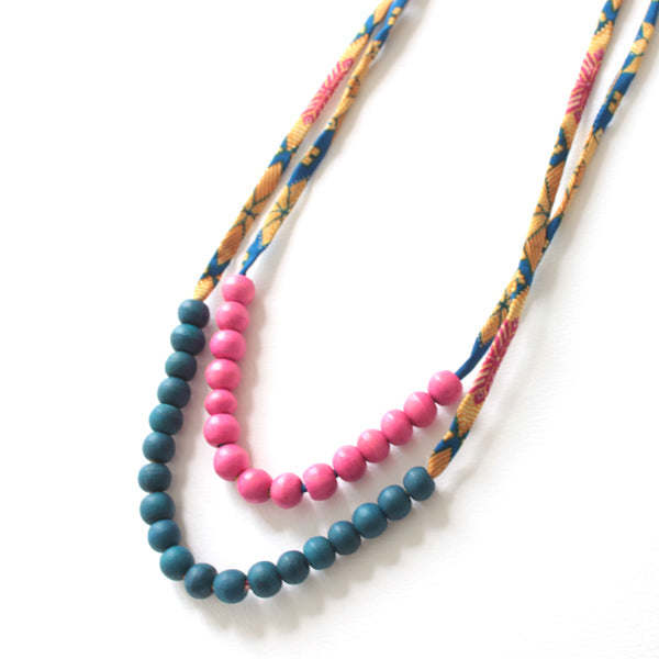 Sal Double Pink Blue Necklace