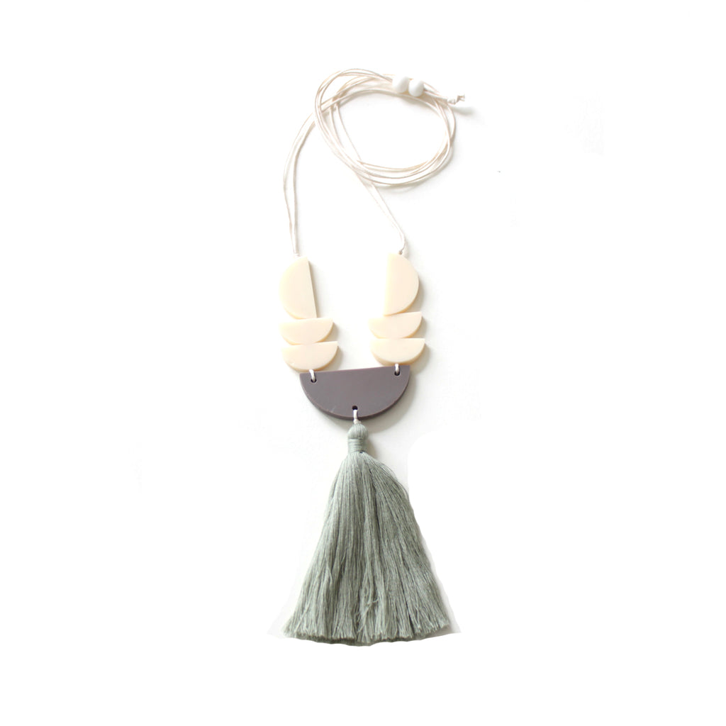 Terry Green Tassel Necklace