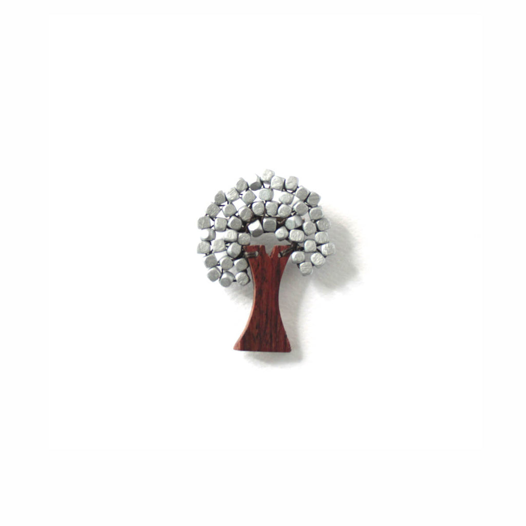 Mini Tree Brooch Silver (New Colour)