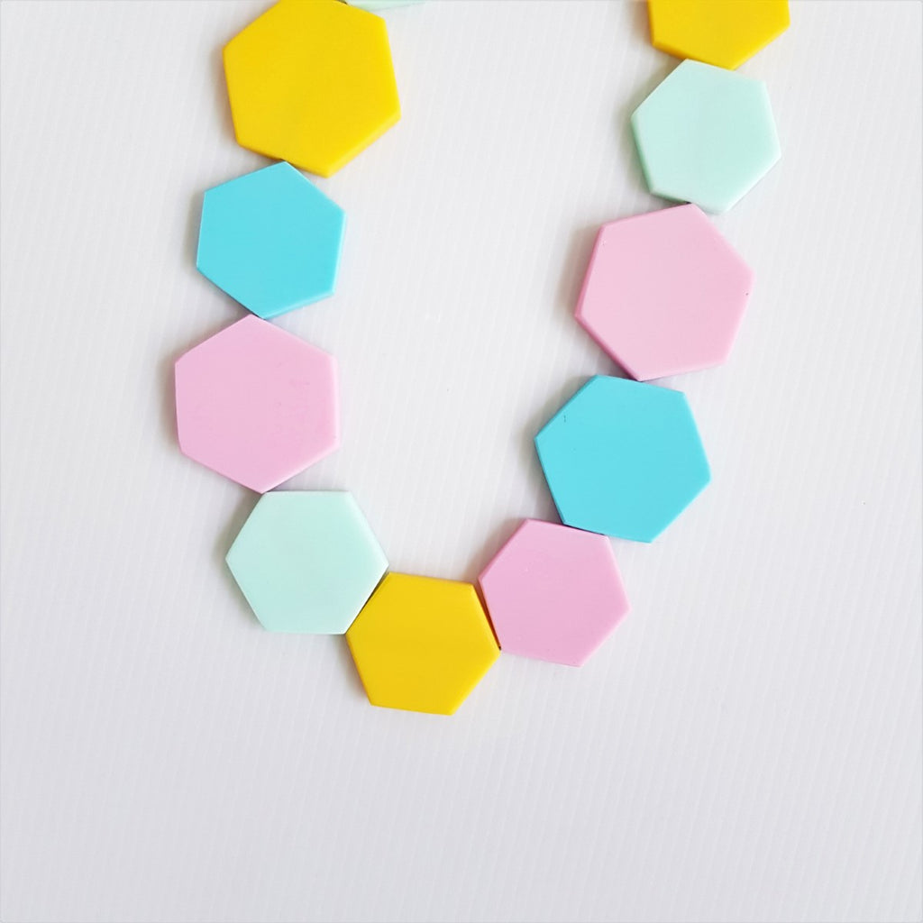 Hexagon Pastel Necklace
