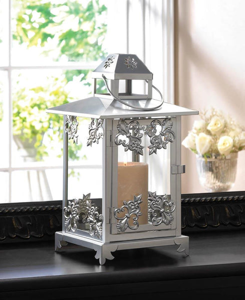 Ancestral Gleaming Silver Finish Candle Lantern