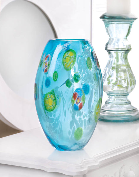 Icy Blue Floral Glass Vase