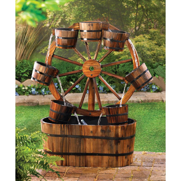 Bucket To Bucket Old-Fashioned Wagon Wheel Fountain