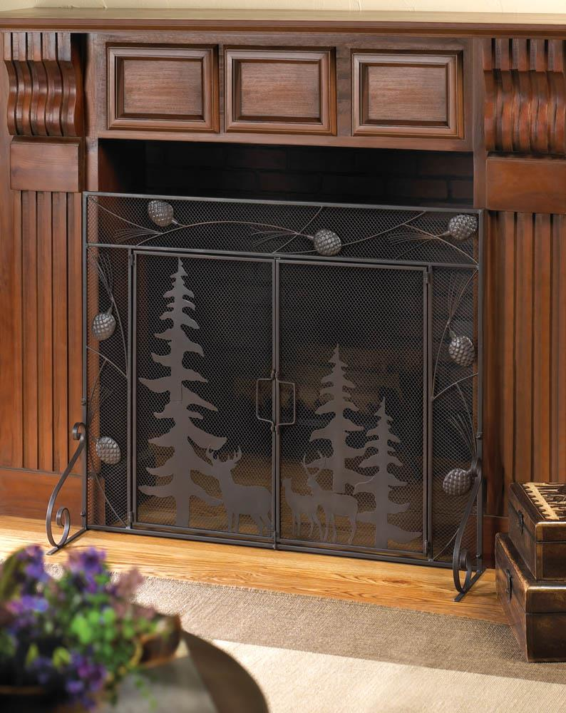 Fireplace screens bronze rustic spark guard flat with doors decor mesh