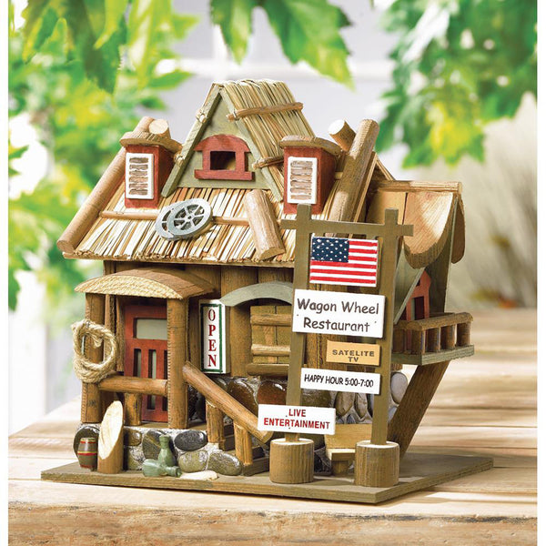 Whimsical Wagon Wheel Bird House