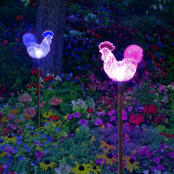 Solar Rooster Decor Garden Stake Lights Outdoor Decorative Color Changing Rooster Figurines For Yard Patio Lawn Decor (2 Pack)