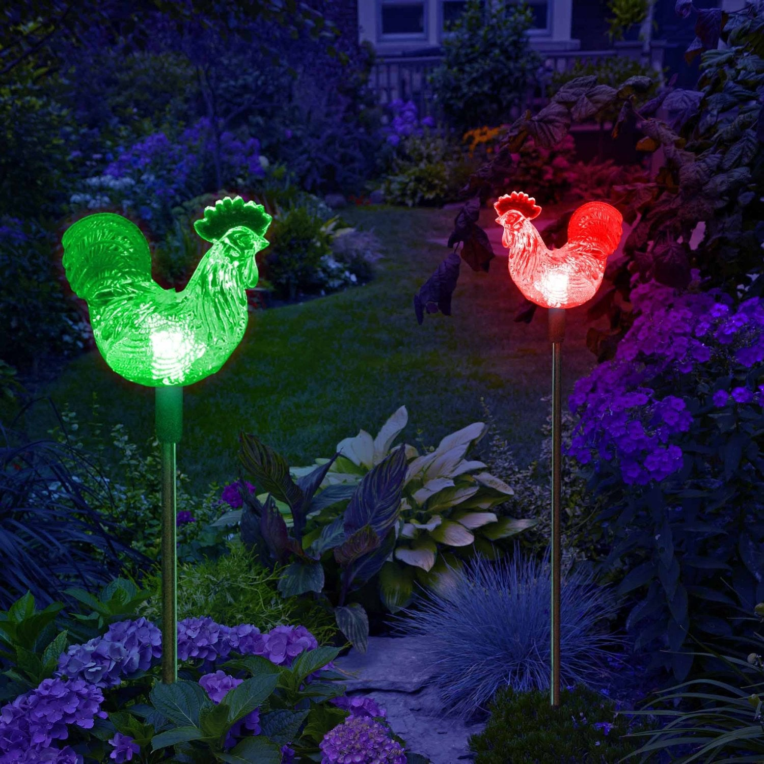 Solar Rooster Decor Garden Stake Lights Outdoor Decorative - My ...