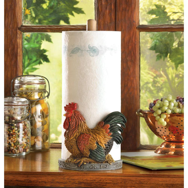 Red Rooster Paper Towel Holder