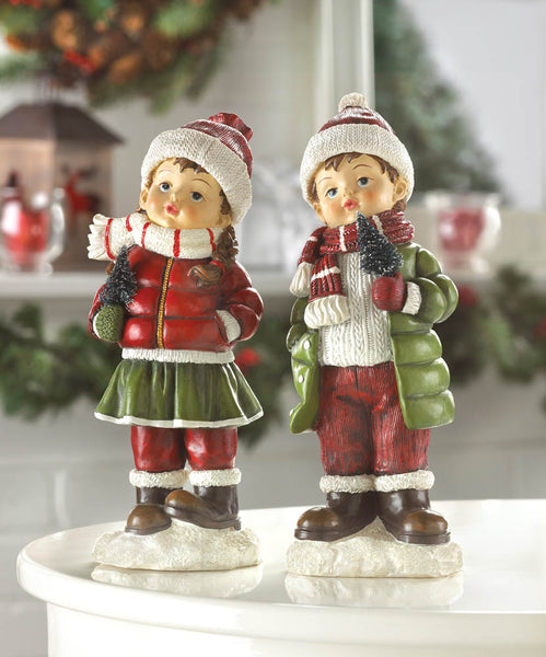 Winter Cheer Children Christmas Holiday Statuette