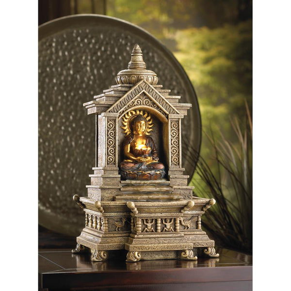 Faux-Stone Buddha Tabletop Fountain
