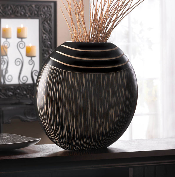 Black Wooden Tribal Vase