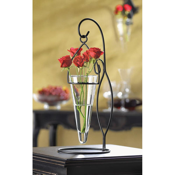 Cone-Shaped Hanging Glass Vase