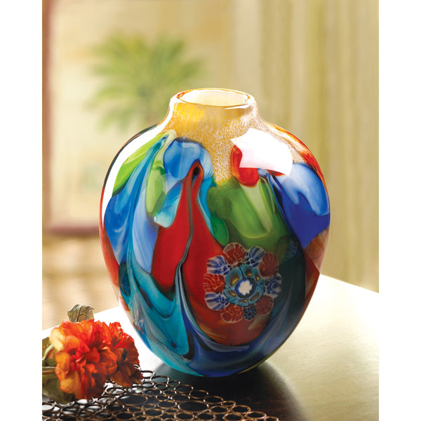 Jug-Shaped Art Glass Vase