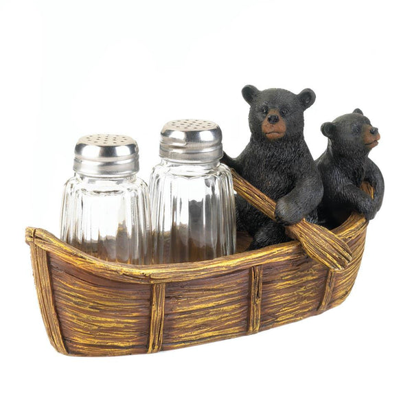 Canoe With Bear Duo Salt & Pepper Holder