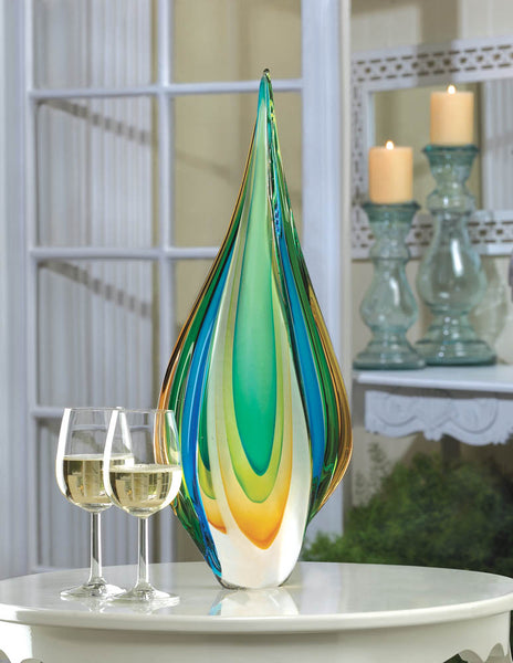Multi-color Flame Art Glass Vase