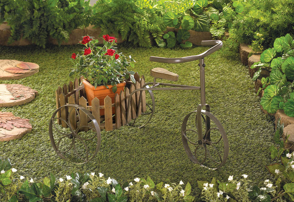Wooden Tricycle Basket Framed Plant Stand