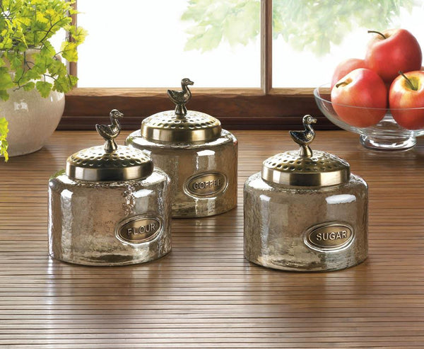 Bird Finials Glass Kitchen Jar Trio
