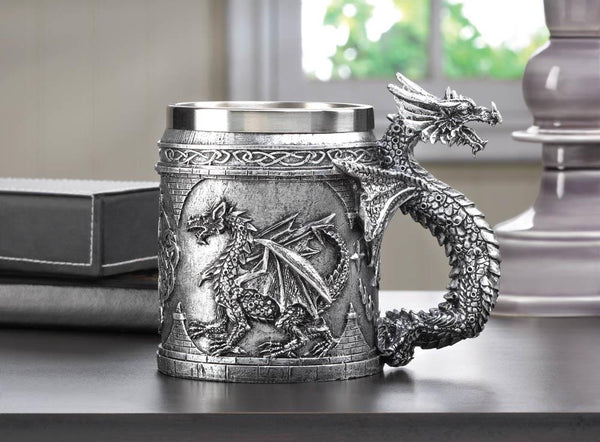 Medieval-Inspired Steel Dragon Mug