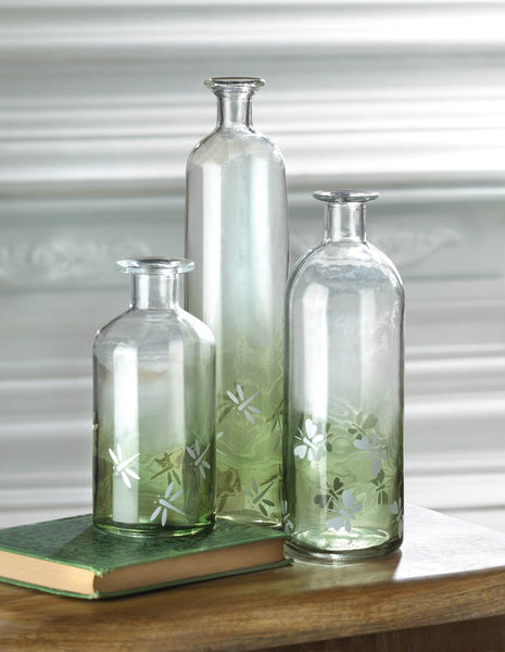 Mossy Green Glass Bottle Vase