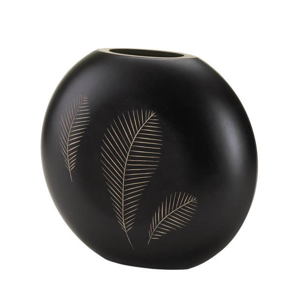 Black Finish Stylized Feather Imprint Vase