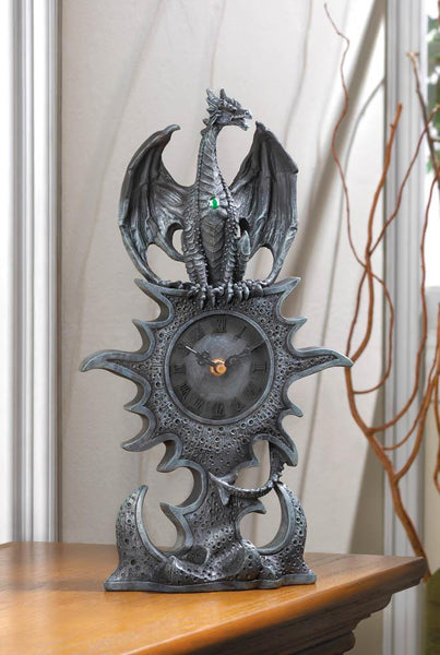 Steel-Gray Dragon Mantel Clock