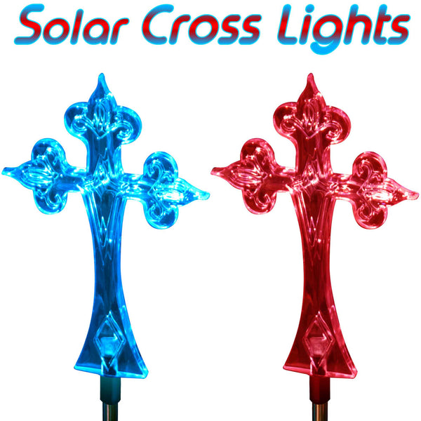 Solar Garden Christmas Cross Stake Outdoor Light