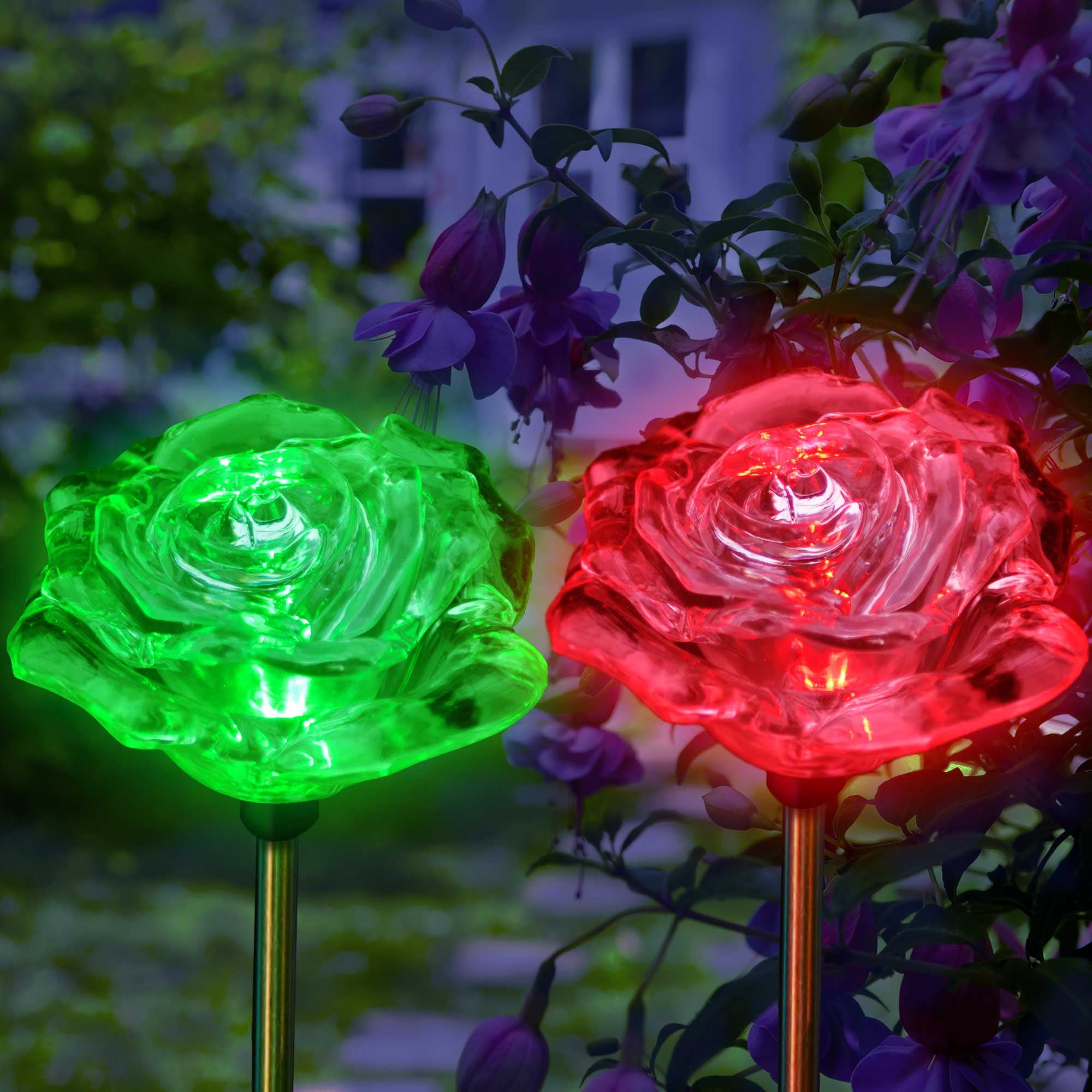 solar garden lights color changing lovely roses - my dream palace