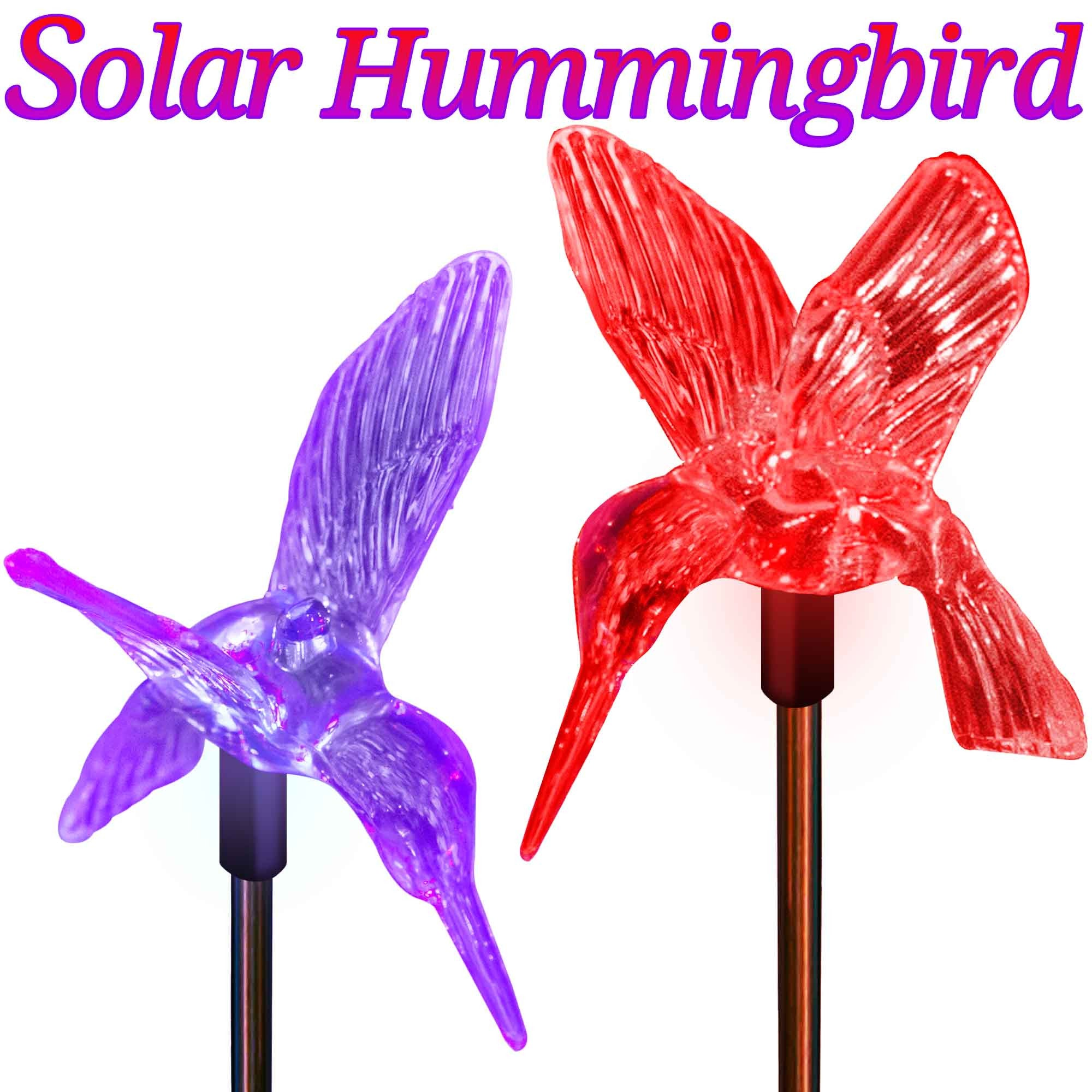 Outdoor Solar Garden Lights Color Changing Hummingbirds Stake Lights (2  Hummingbirds) Solar Garden Lights ...