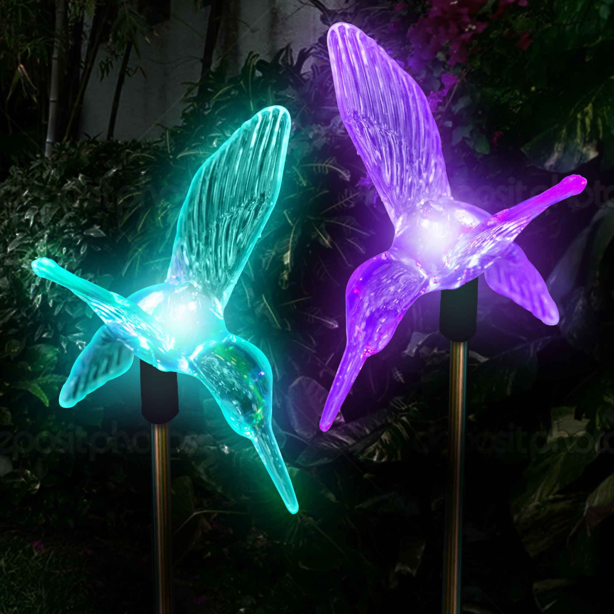 Ordinaire ... Outdoor Solar Garden Lights Color Changing Hummingbirds Stake Lights (2  Hummingbirds) Solar Garden Lights ...