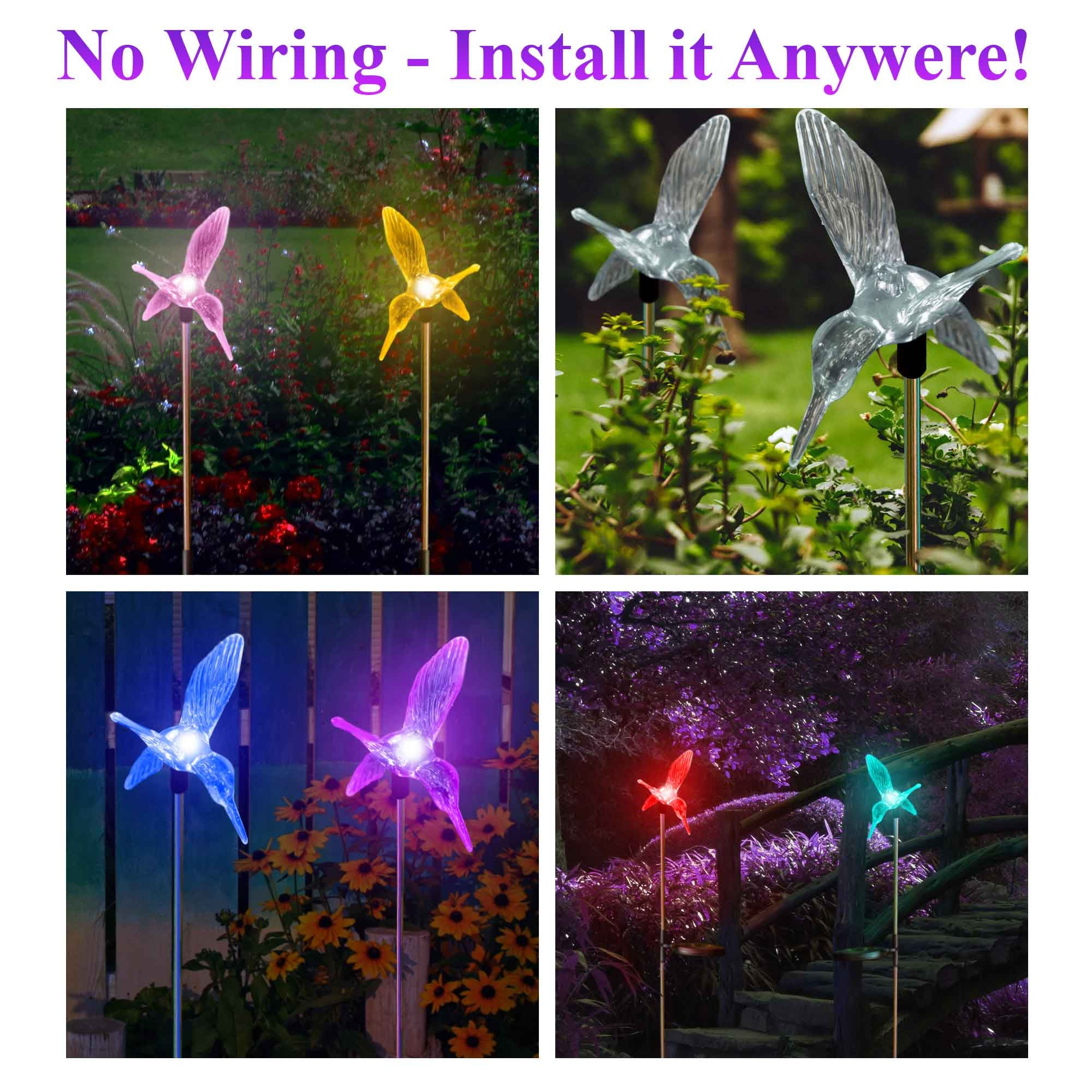 Outdoor Solar Garden Lights Color Changing Hummingbirds Stake Lights (2  Hummingbirds)