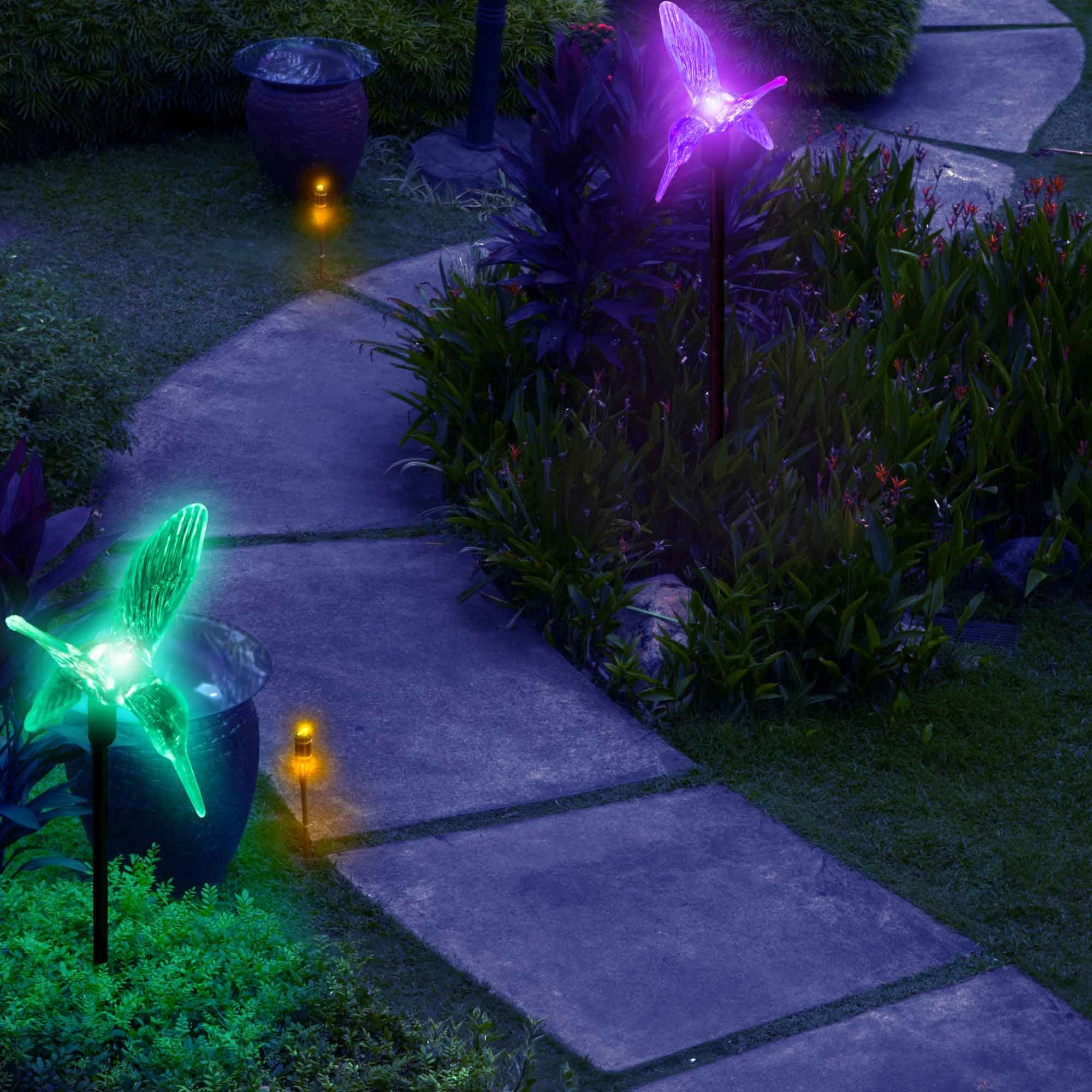 Outdoor Solar Garden Lights Color Changing Hummingbirds Stake Lights My Dream Palace