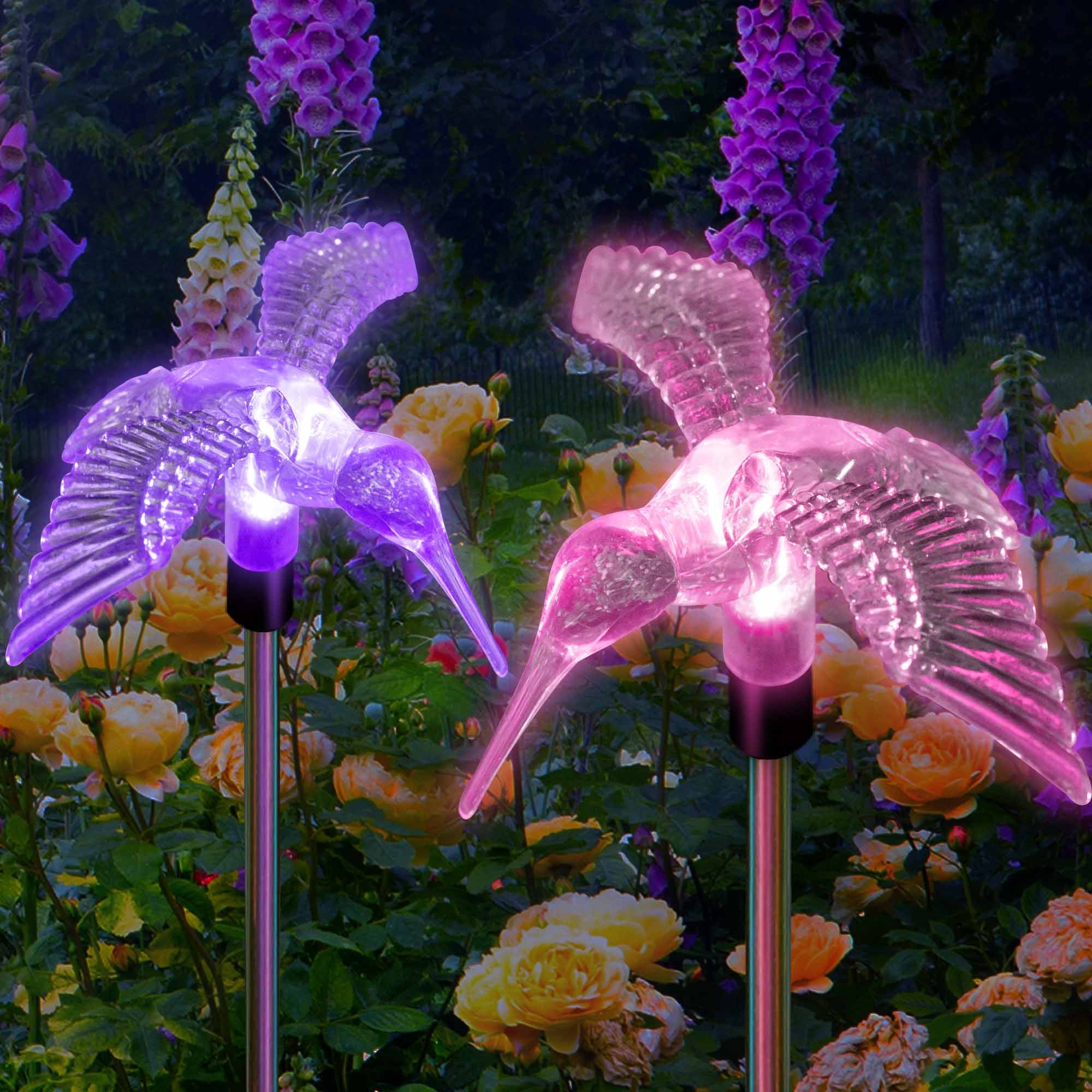 Solar Outdoor Garden Lights Color Changing Hummingbirds For Lawn Patio Yard  Decoration (Wing Down)
