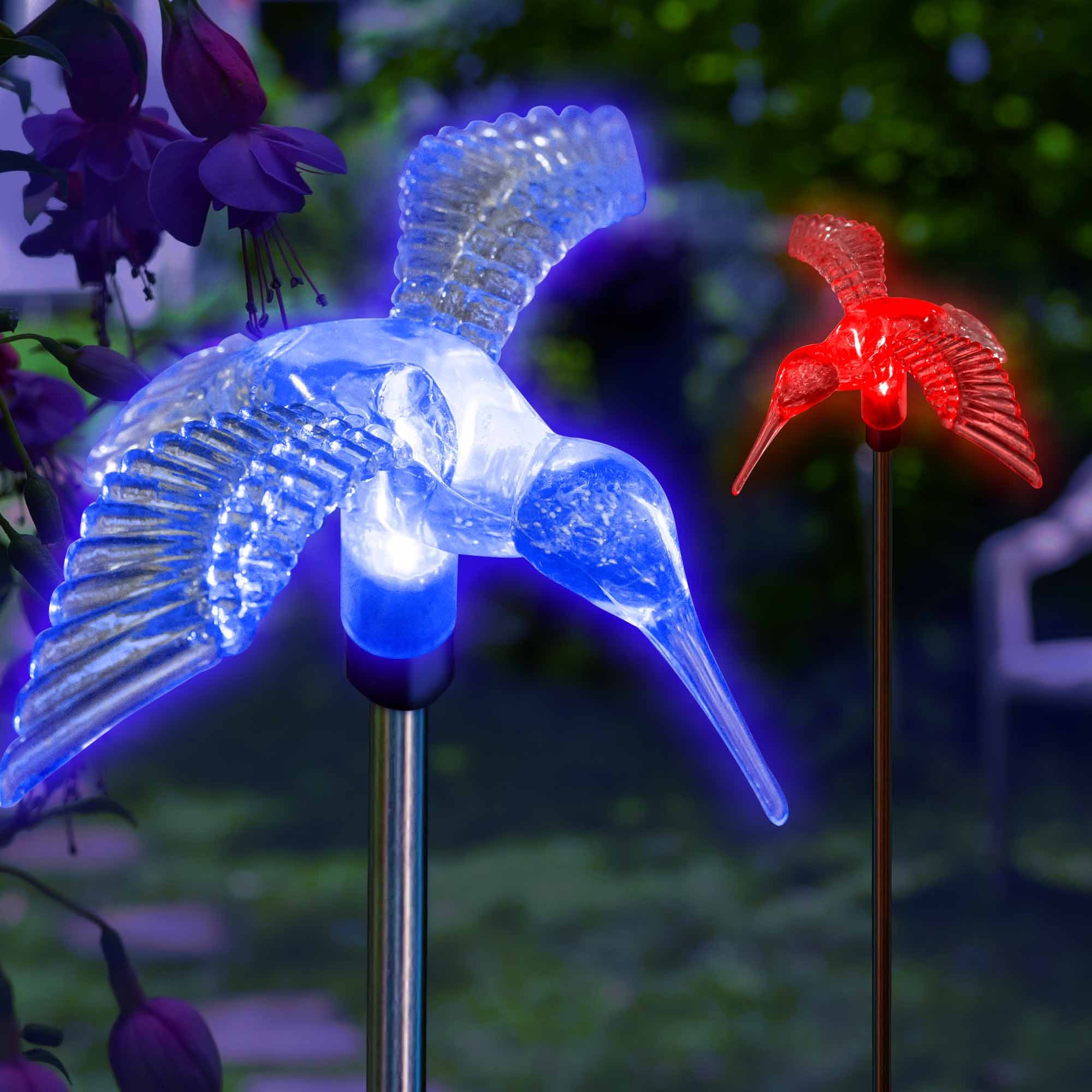 Solar Outdoor Garden Lights Color Changing Hummingbirds For Lawn